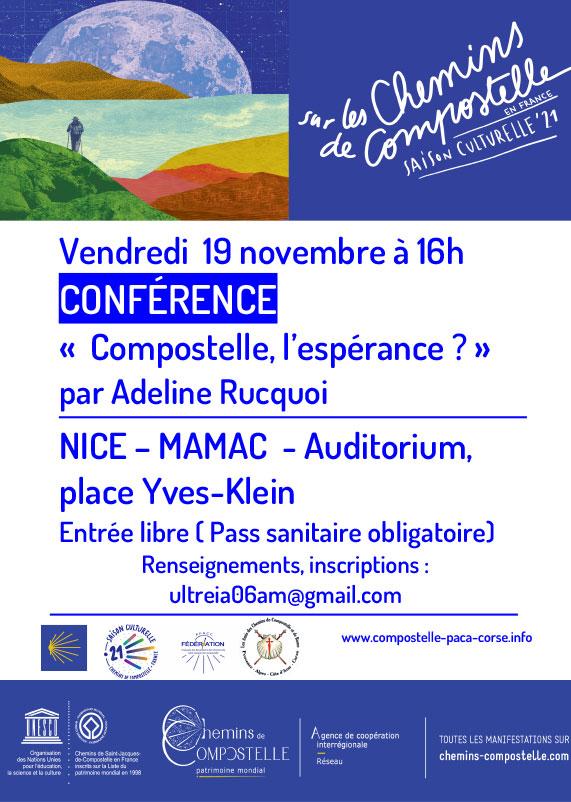 Association Provence Alpes Côte d'Azur Corse des amis des chemins de Saint-Jacques de Compostelle et de Rome agenda 2021